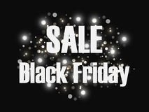 Fondo de la venta de Black Friday Ventas y descuento Fondo negro con los flashes de luces brillantes Vector Fotos de archivo
