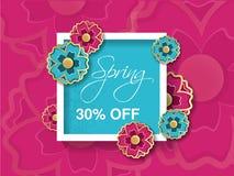 Fondo de la venta de la primavera con la flor colorida Plantilla azul rosada de la disposición Descuento de la tarjeta, de la ban ilustración del vector