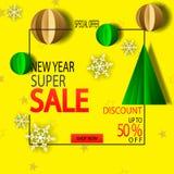 Fondo de la venta del Año Nuevo con el árbol de navidad del papel libre illustration