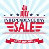 Fondo de la venta del Día de la Independencia de los E.E.U.U. del vector Plantilla del diseño para la 4ta de la venta de julio Fotografía de archivo