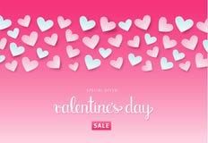 Fondo de la venta del día del ` s de la tarjeta del día de San Valentín con los corazones Vector EPS 10 Imagenes de archivo