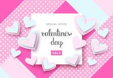 Fondo de la venta del día del ` s de la tarjeta del día de San Valentín con los corazones Vector EPS 10 Fotografía de archivo