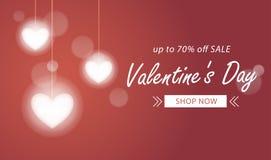 Fondo de la venta del día de tarjetas del día de San Valentín con el corazón ligero de la lámpara Fotos de archivo