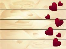 Fondo de la venta del día de tarjetas del día de San Valentín con el corazón rojo en la madera Imágenes de archivo libres de regalías