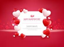 Fondo de la venta del día de tarjetas del día de San Valentín con el modelo del corazón de los globos Imágenes de archivo libres de regalías