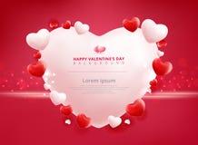Fondo de la venta del día de tarjetas del día de San Valentín con el modelo del corazón de los globos Vect Fotografía de archivo libre de regalías