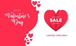 Fondo de la venta del día de tarjetas del día de San Valentín con en forma de corazón stock de ilustración