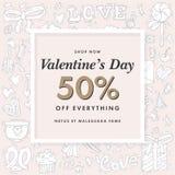 Fondo de la venta del día de tarjetas del día de San Valentín con en forma de corazón Fondo feliz del día de tarjetas del día de  stock de ilustración