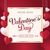 Fondo de la venta del día de tarjetas del día de San Valentín con los globos en forma de corazón ilustración del vector