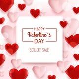 Fondo de la venta del día de tarjetas del día de San Valentín con los globos en forma de corazón Ilustración del vector wallpaper Imagen de archivo