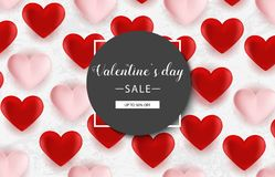 Fondo de la venta del día de tarjetas del día de San Valentín con los globos en forma de corazón Ilustración del vector wallpaper Fotos de archivo