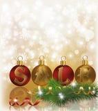 Fondo de la venta del invierno con las bolas de la Navidad ilustración del vector