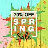Fondo de la venta de la primavera con la hoja colorida para la oferta el 70% de la primavera apagado stock de ilustración