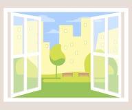 Fondo de la ventana abierta de la opinión de la ciudad libre illustration