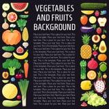 Fondo de la vertical del vector de las verduras y de las frutas Diseño plano Fondo sano del alimento Fotos de archivo