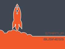 Fondo de lanzamiento simplista del negocio con el cohete Fotos de archivo libres de regalías