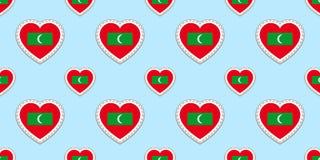 Fondo de las banderas de Maldivas Stikers del vector Modelo inconsútil de la bandera maldiva Símbolos de los corazones del amor B Stock de ilustración