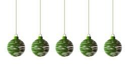 Fondo de las bolas verdes de la Navidad fotos de archivo