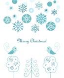 Fondo de las bolas y de los copos de nieve de la Navidad Imagenes de archivo