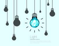 Fondo de las bombillas Ejemplo del vector del concepto de la idea de la ciencia industrial Fotos de archivo libres de regalías