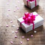 Fondo de las cajas de regalo del amor del día de fiesta del día de tarjetas del día de San Valentín Fotografía de archivo