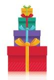 Fondo de las cajas de regalo. El color del vector presenta el illust Fotografía de archivo libre de regalías
