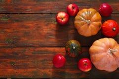 Fondo de las calabazas y de las manzanas de la cosecha del otoño Fotos de archivo libres de regalías