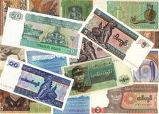 Fondo de las cuentas de dinero del kyat de Myanmar Fotos de archivo libres de regalías