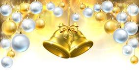 Fondo de las decoraciones de Belces de la Navidad Fotografía de archivo