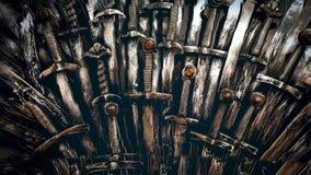 Fondo de las espadas del caballero del metal Cierre para arriba Los caballeros del concepto almacen de metraje de vídeo