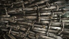 Fondo de las espadas del caballero del metal Los caballeros del concepto almacen de video