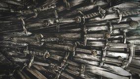 Fondo de las espadas del caballero del metal Los caballeros del concepto almacen de metraje de vídeo