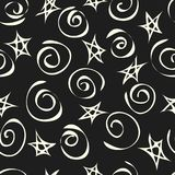 Fondo de las estrellas y de los espirales, modelo inconsútil del extracto Vector Foto de archivo libre de regalías