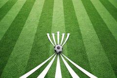 Fondo de las flechas de la estrategia del juego del campo de fútbol Foto de archivo libre de regalías