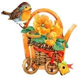 Fondo de las flores del pájaro y del jardín Fotografía de archivo libre de regalías