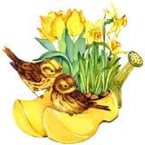 Fondo de las flores del pájaro y del jardín Imagen de archivo libre de regalías