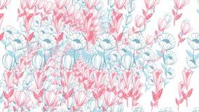 Fondo de las flores pintadas en la animación Fondo floral hermoso del fondo… con las flores coloridas stock de ilustración