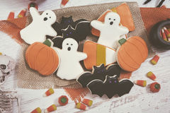 Fondo de las galletas de Halloween entonado Fotos de archivo libres de regalías