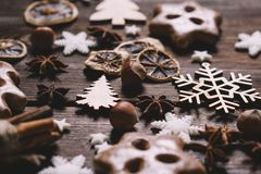 Fondo de las galletas del pan de jengibre de la Navidad foto de archivo libre de regalías