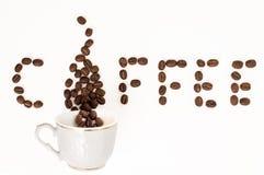 Fondo de las habas de la taza de café Fotos de archivo