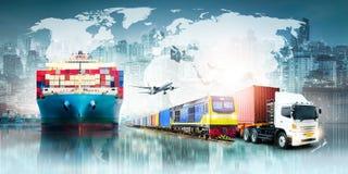 Fondo de las importaciones/exportaciones de la logística de negocio global y nave de la carga del cargo del envase ilustración del vector