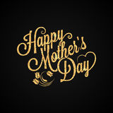 Fondo de las letras del vintage del oro del día de madres stock de ilustración