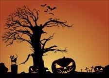 Fondo de las linternas de Halloween y de Jack O Imagen de archivo