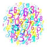 Fondo de las matemáticas - grupo de diverso modelo al azar de la matemáticas de los números, estilo de neón brillante 80s imágenes de archivo libres de regalías