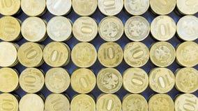 Fondo de las monedas de 10 rublos Imagen de archivo libre de regalías