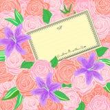 Fondo de las rosas y de los lirios Imagen de archivo libre de regalías