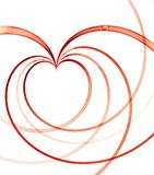 Fondo de las tarjetas del día de San Valentín con el corazón linear rojo Fotografía de archivo