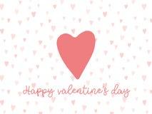 Fondo de las tarjetas del día de San Valentín con el corazón y el texto Fotografía de archivo libre de regalías