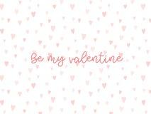Fondo de las tarjetas del día de San Valentín con el corazón y el texto Foto de archivo libre de regalías