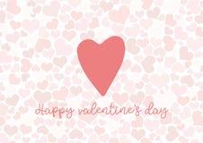 Fondo de las tarjetas del día de San Valentín con el corazón y el texto Imagen de archivo libre de regalías